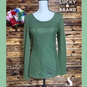 Lucky Brand Like New Forest Green Knit Sweater S